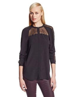 DKNYC  - Long Sleeve Button Thru Blouse with Mesh Inserts