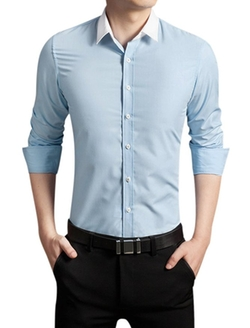 Uxcell - Point Collar Button Down Shirt