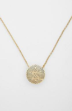 House of Harlow 1960  - Tholos Engraved Pendant Necklace