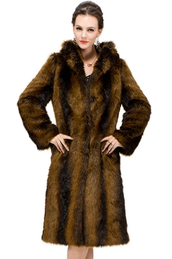Adelaqueen - Faux Fur Hooded Coat