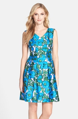 Donna Ricco - Floral Print Shantung Fit & Flare Dress