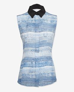 BARBARA BUI  - CONTRAST COLLAR DENIM PRINT SLEEVELESS BLOUSE