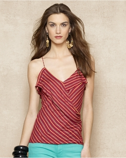 Ralph Lauren - Ruffled Striped Top