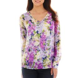 Liz Claiborne - Long-Sleeve Garden Floral Blouse with Cam