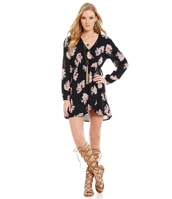 Band Of Gypsies - Floral-Print Wrap Dress