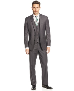 Kenneth Cole Reaction - Mini-Stripe Vested Slim-Fit Suit
