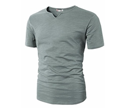 H2H - Casual Slit Wide Neck T-Shirt