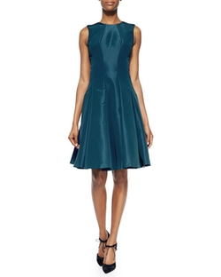 Zac Posen  - Sleeveless Pleated Silk Faille Dress