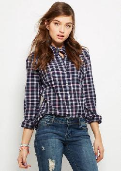Delias - Button-down Plaid Shirt