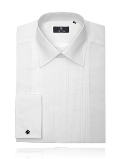 Alexander Dobell - Laydown Collar Pleated Tuxedo Shirt