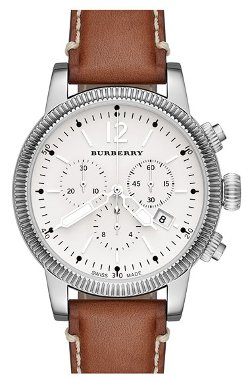 Burberry  - Round Leather Strap Watch