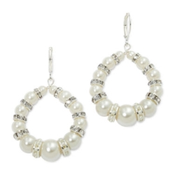 Vieste - Simulated Pearl & Crystal Hoop Earrings