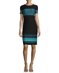 St. John Collection - Macro Striped Short-Sleeve Sheath Dress