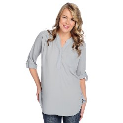 Kate and Mallory - Crepe Roll Tab Sleeved Blouse
