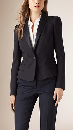 Burberry - Peplum Back Wool Blend Jacket