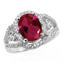 Gem Stone King - Oval Red Created Ruby Ring