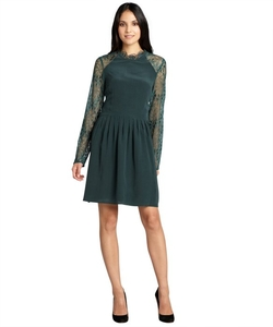 Wyatt - Forest Silk Sheer Lace Sleeves Fit And Flare Dress