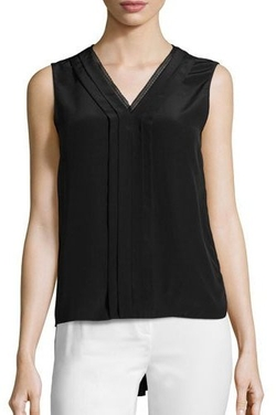Elie Tahari - Emi Sleeveless V-Neck Silk Blouse