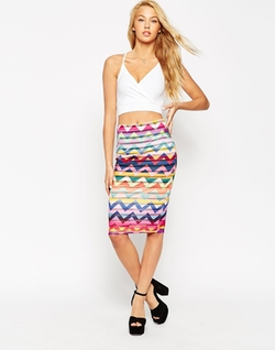 Asos - Chevron Burn Out Stripe Pencil Skirt