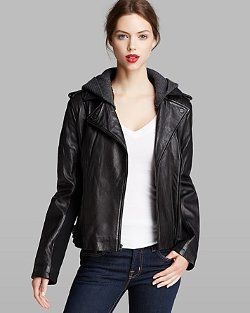 DKNY - Jacket - Knit Hood Leather Moto