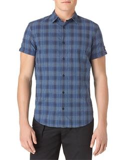 Calvin Klein  - Modern Fit Ombre Check Seersucker Sportshirt