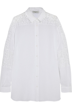 Sandro  - Coquille Lace Paneled Cotton Voile Shirt