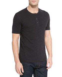 Vince - Basic Slub Short-Sleeve Henley Shirt