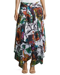 Neiman Marcus - Floral-Print Handkerchief-Hem Maxi Skirt
