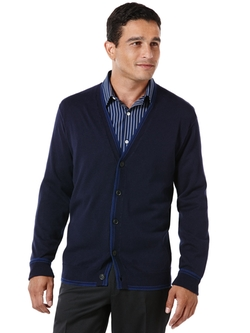 Perry Ellis International - Long Sleeve Cotton Cardigan