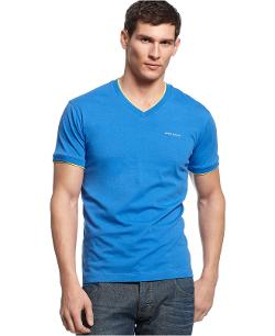 ARMANI JEANS - Double-Layer V-neck T-Shirt