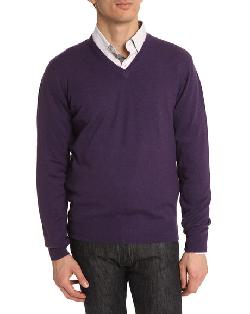 HACKETT  - Fine Gauge Violet V-Neck Sweater