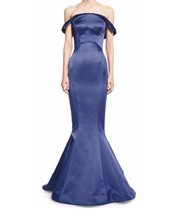 Zac Posen - Folded Off-the-Shoulder Satin Trumpet Gown