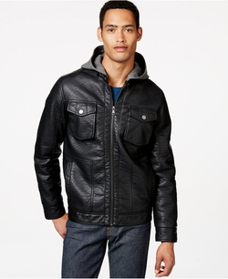 Sean John - Leather Hooded Jacket