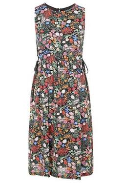 Top Shop - Woodland Print Tie-Side Midi Dress