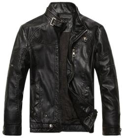 Chouyatou - Stand Collar Pu Leather Jacket