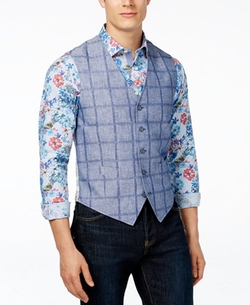 Tallia - Vince Slim-Fit Plaid Paisley Vest