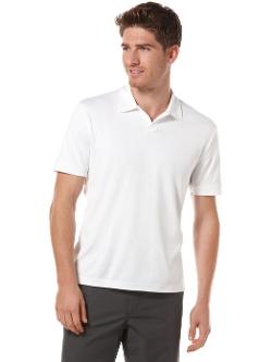 Perry Ellis - Rib Open Collar Knit Polo Shirt