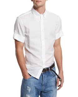 Brunello Cucinelli - Solid Short-Sleeve Sport Shirt