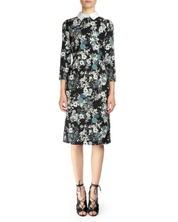 Erdem - Viv Collared Bracelet-Sleeve Dress