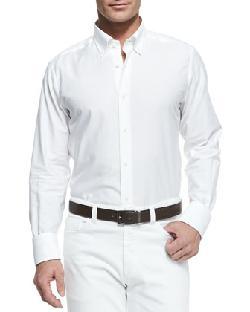 Neiman Marcus  - Chambray Button-Down Shirt, White