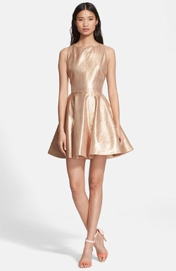 Alice + Olivia - Lia Metallic Fit & Flare Dress