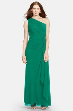 Lauren Ralph Lauren - One-Shoulder Ruched Georgette Gown