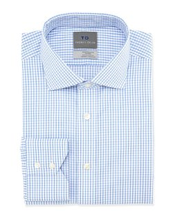 Thomas Dean  - No-Iron Check-Print Dress Shirt