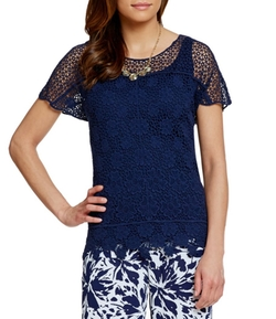 Ruby Rd.  - Twin Floral Lace Scoop-Neck Top