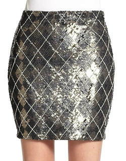 Haute Hippie  - Sequined Check Miniskirt