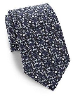 Armani Collezioni - Geometric Medallion Print Silk Tie