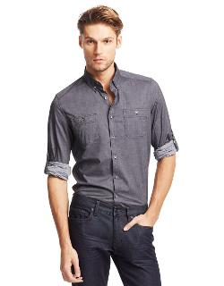 Kenneth Cole New York  - Chambray Roll-sleeve Sport Shirt