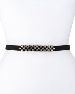 Oscar De La Renta - Thin Stone-Grid Silk Faille Belt