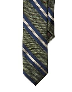 Black Brown 1826  - Slim Fit Plaid Striped Silk Tie