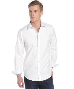Report Collection  - White Cotton Jacquard Long Sleeve Button Front Shirt